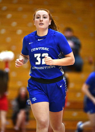 12/21/2019 Mike Orazzi | StaffrCCSU's Tiffany Slicklein (32) during Saturday's women's basketball game with The University of Hartford in West Hartford.