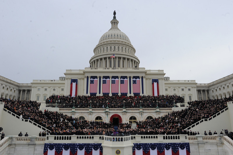 . US President Barack Obama takes the oath of office during the 57th Presidential Inauguration ceremonial swearing-in at the US Capitol on January 21, 2013 in Washington, DC. JEWEL SAMAD/AFP/Getty Images
