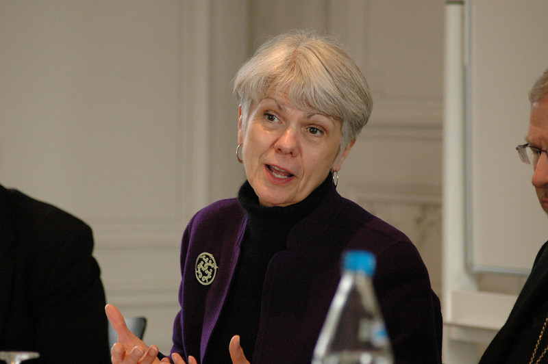 Myrna J. Sheie, executive for governance and institutional relations, ELCA Office of the Presiding Bishop, joins the discussion Feb. 16 during the ELCA delegation's visit to the WCC Ecumenical Institute at Bossey (Switzerland).