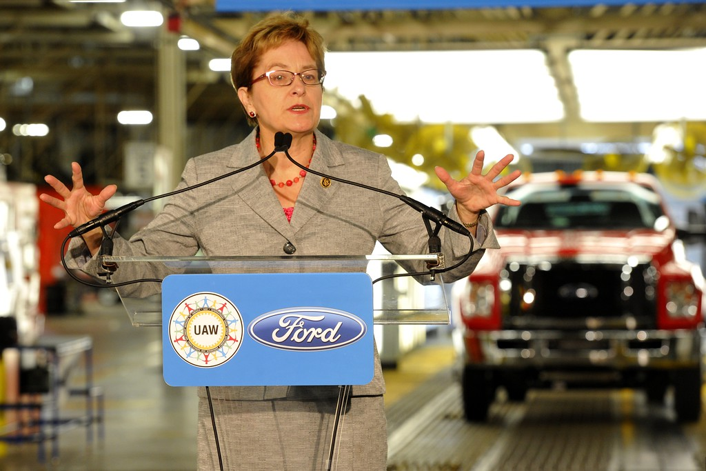 . Rep. Marcy Kaptur, D-Ohio, talks while standing in front of the first 2016 Ford F-650 truck at the Ford Motor Company\'s Ohio Assembly Plant Wednesday, Aug. 12, 2015, in Avon Lake, Ohio. Production of the medium-duty trucks, previously built in Mexico, is part of a $168 million plant investment in the United States. (AP Photo/David Richard)