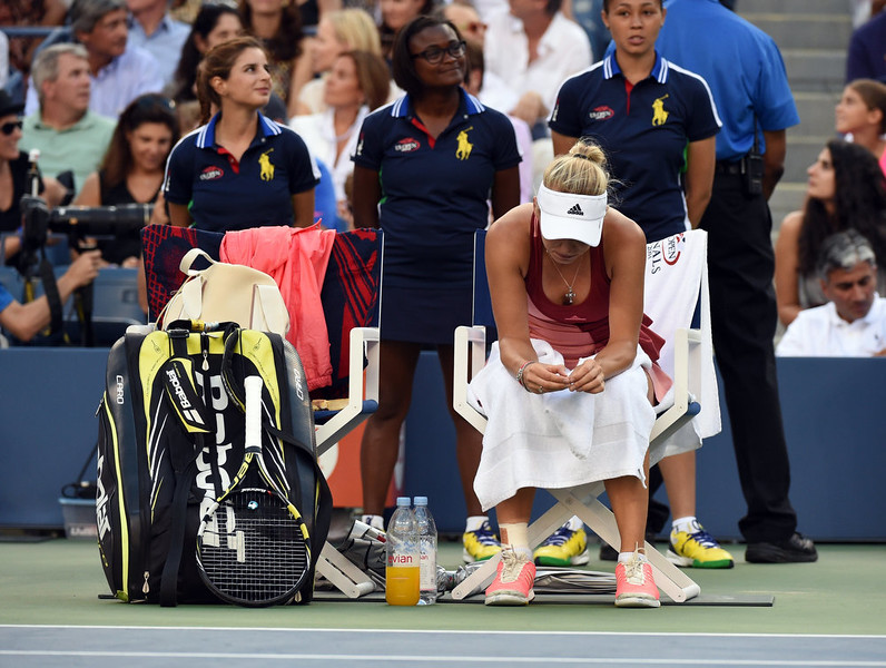 . Caroline Wozniacki of Denmark takes her break between games during match against Serena Williams of the US at the 2014 US Open Women\'s Singles - finals match at the USTA Billie Jean King National Tennis Center September 7, 2014 in New York.    TIMOTHY A. CLARY/AFP/Getty Images