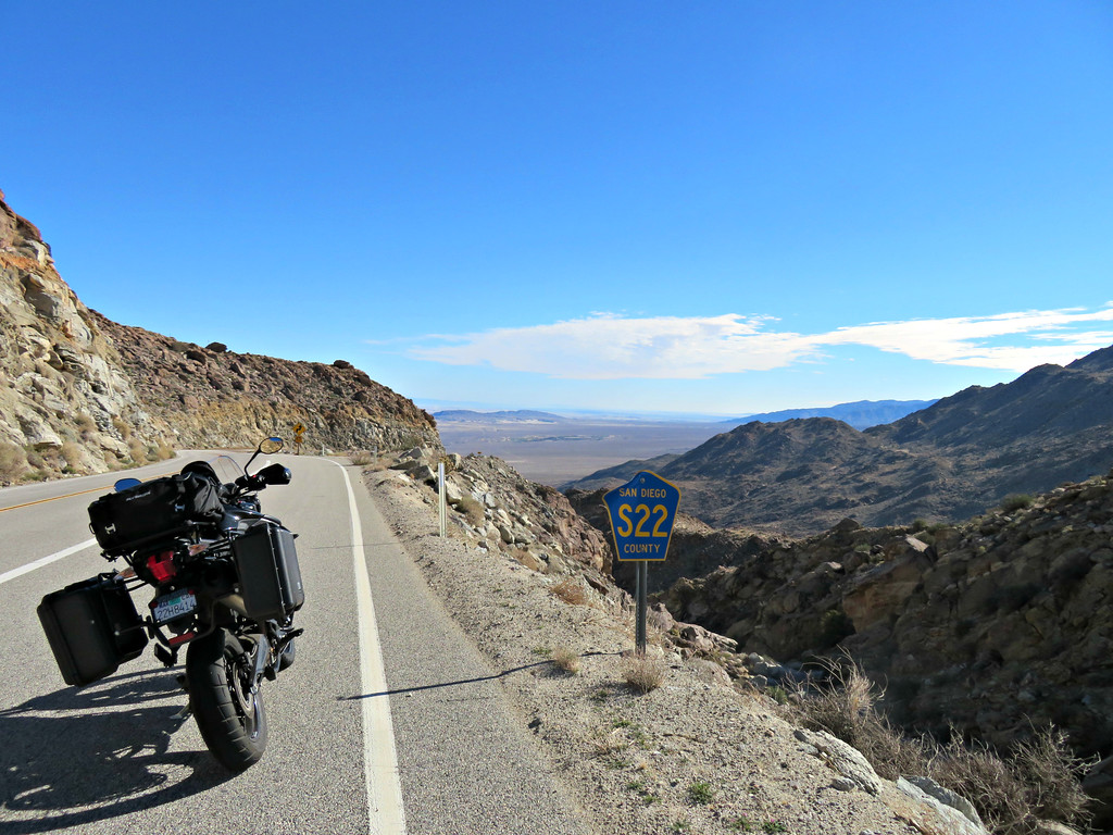 Motorcycle ride in to the Anza-Borrego Desert