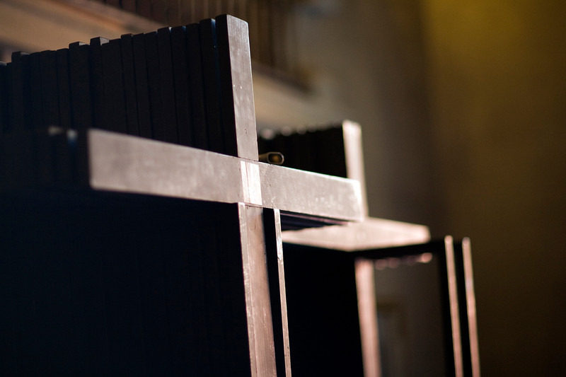 Stack of wooden crosses to be beared by penitents during Holy Week processions, Seville, Spain