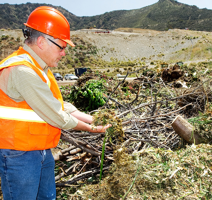 . Kreigh Hampel, Public Works Department Recycling Coordinator for Burbank Recycle Center examining part of a green load at dump site in Burbank Wednesday, May 22, 2013. The new treatment of green waste is being used as alternative daily cover at the Puente Hills Landfill, but that is closing at end of October. So, not many other cities know what to do with the stuff you put out on your curb for separate pickup. Burbank Recycle Center has a huge operation moving 80 tons per day of green waste to a fertilzier/recycling facility in Fontana. (SGVN/Photo by Walt Mancini)