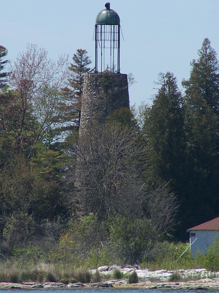 The old Baileys Harbor Lighthouse with its birdcage top.