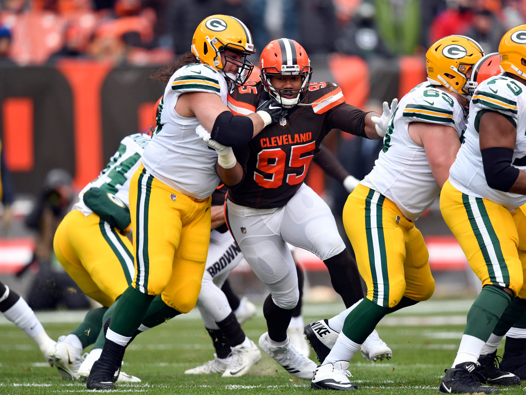 . Cleveland Browns defensive end Myles Garrett (95) runs a route against the Green Bay Packers in the first half of an NFL football game, Sunday, Dec. 10, 2017, in Cleveland. (AP Photo/David Richard)