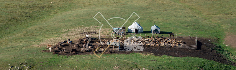Aerial image of yurt and nomadic sheepfarm in the Kyrchyn gorge near the cultural village of the 3th world nomad games