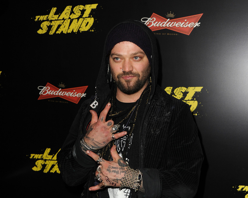 ". Actor Bam Margera arrives at the premiere of Lionsgate Films\' ""The Last Stand\"" at Grauman\'s Chinese Theatre on January 14, 2013 in Hollywood, California.  (Photo by Kevin Winter/Getty Images)"