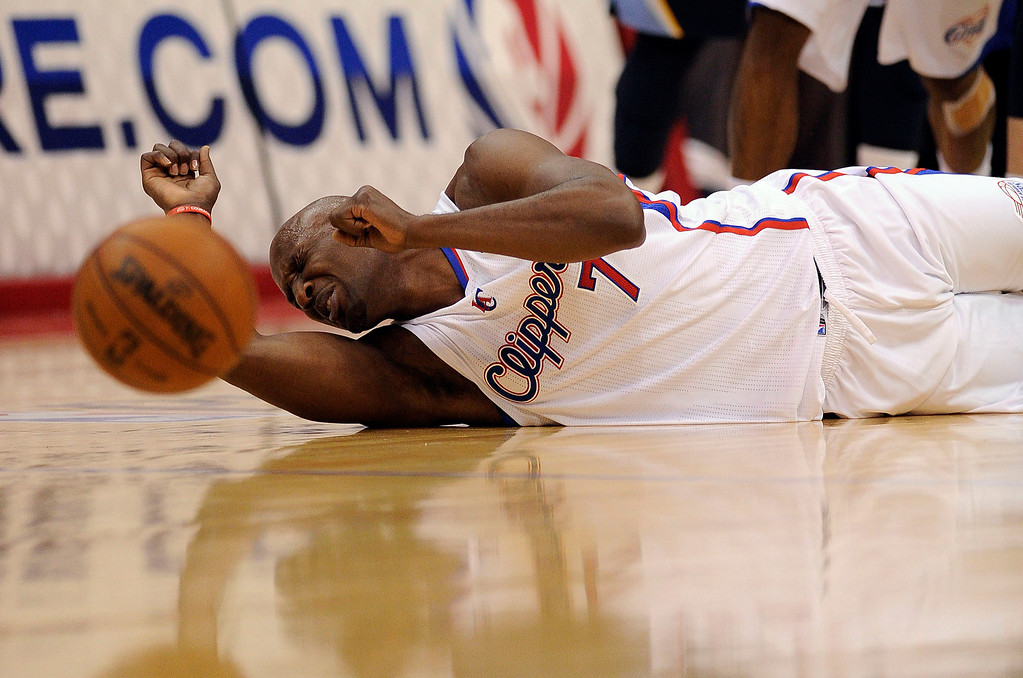 . The Clippers\' Lamar Odom #7 reacts after fouling the Grizzlies\' Marc Gasol #33 during their first round Western Conference Playoff game at the Staples Center in Los Angeles Saturday, April 20, 2013. (Hans Gutknecht/Los Angeles Daily News)