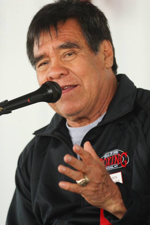 . International Boxing Hall of Fame Class of 1991 member Ruben Olivares  talks about his career and boxing with fans during a ringside lecture on  opening day of the 25 the annual Hall of Fame weekend on Thursday, June 5. 2014 in Canastota.JOHN HAEGER-ONEIDA DAILY DISPATCH @ONEIDAPHOTO ON TWITTER