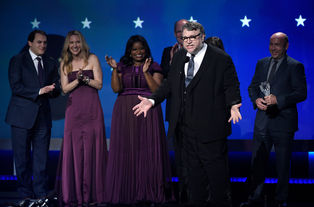 ". Guillermo del Toro and the cast and crew of ""The Shape of Water\"" accept the award for best picture at the 23rd annual Critics\' Choice Awards at the Barker Hangar on Thursday, Jan. 11, 2018, in Santa Monica, Calif. (Photo by Chris Pizzello/Invision/AP)"