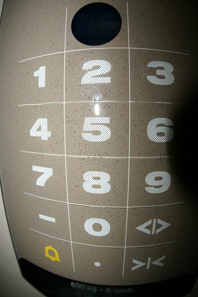 Prague-style elevator control panel.