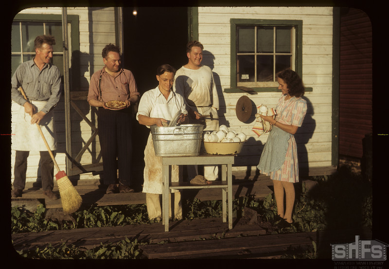 Smoky Burn kitchen gang - Carrot River co-op farms. 07/18/1949