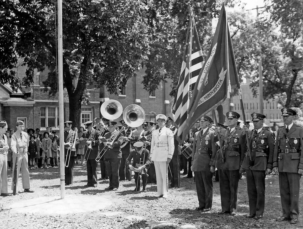. The Saint Paul Police Band performing at a ceremony in the 1940\'s.  (Photo courtesy of the Saint Paul Police Band Association)