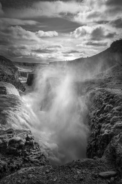 Gullfoss Waterfall   Black & White Photography by Wayne Heim