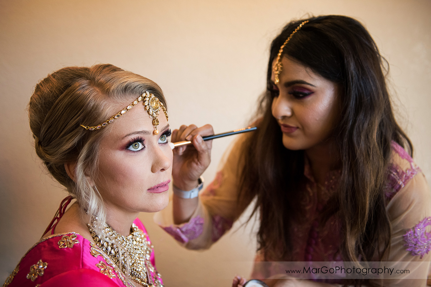 bridal makeup during Indian wedding