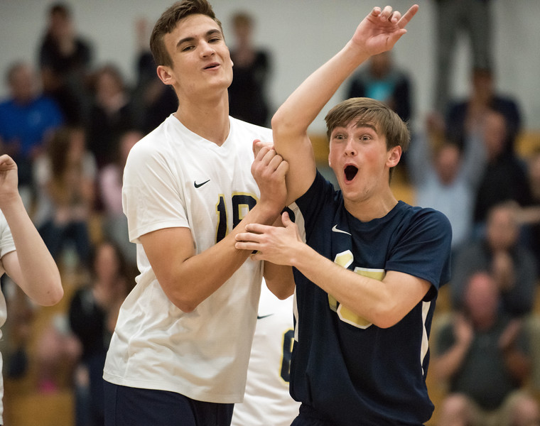 06/04/18  Wesley Bunnell | Staff  Newington volleyball defeated South Windsor 3-0 in a game played at Glastonbury High School on Monday evening.  Teddy Fravel (18) and Razik Amadou (15).