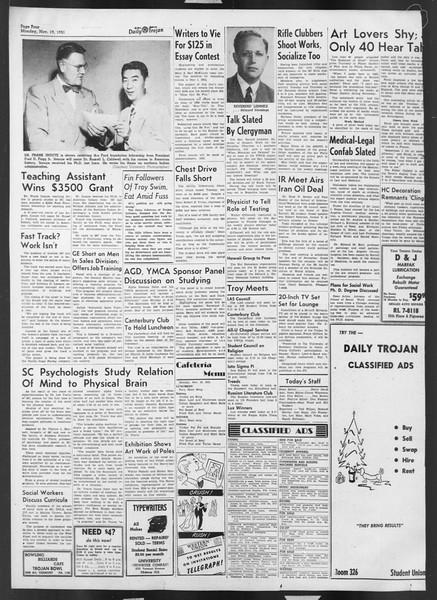Daily Trojan, Vol. 43, No. 45, November 19, 1951