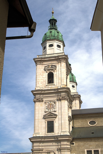 The twin towers of Salzburg Roman Catholic Cathedral