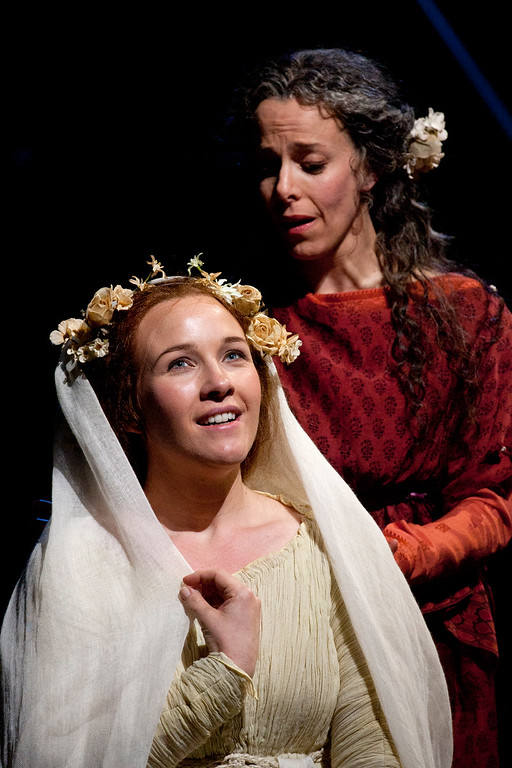 ". Sasha Cooke, left, as Mary Magdalene and Maria Kanyova as Miriam, in San Francisco Opera\'s world premiere of Mark Adamo\'s ""The Gospel of Mary Magdalene,\"" Sunday, June 16, 2013 at the War Memorial Opera House in San Francisco. (D. Ross Cameron/Bay Area News Group)"
