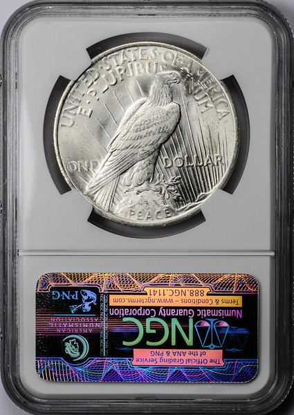 1923 SILVER DOLLAR - PEACE LIBERTY HEAD NGC MS65 CAC Reverse
