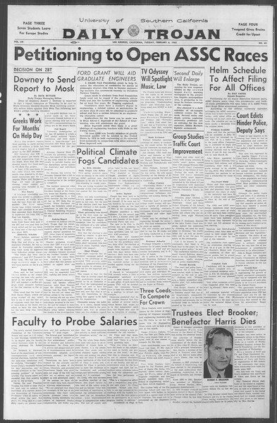 Daily Trojan, Vol. 53, No. 63, February 06, 1962