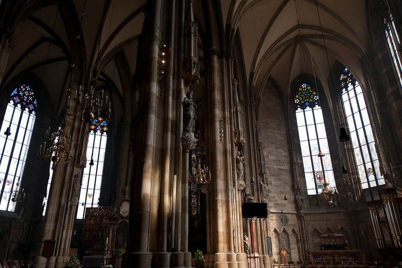 More statues and pillars inside the St. Stephen's Cathedral - Vienna, Austria