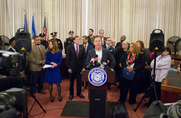01/10/20 Wesley Bunnell | Staff Governor Ned Lamont addresses the media during a conference on Friday afternoon. Senator Richard Blumenthal along with Governor Ned Lamont, Hartford Mayor Luke Bronin, Lt. Gov. Susan Bysiewicz, other government officials and community activists mets at Hartford City Hall on Friday afternoon to discuss how to help Puerto Rico after a series of earthquakes recently. The Senator called for fair and affordable prices on airline tickets leaving Puerto Rico which have skyrocketed in price. Others noted the Trump administrations failure to release federal funding already designated for relief efforts two years ago after Hurricane Maria.