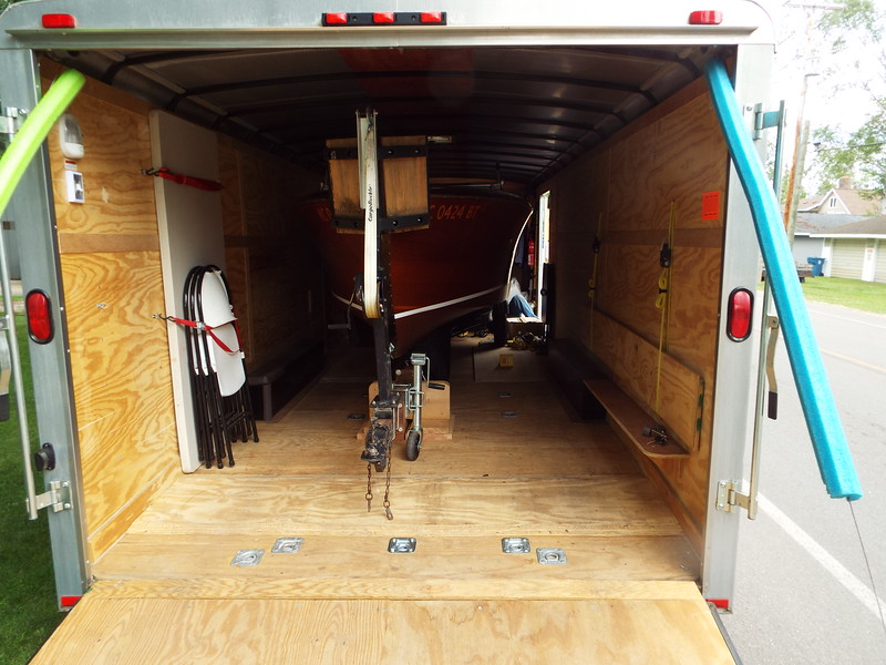Inside the trailer. Once Scott straps the boat down were ready to go. Everything completed except a new cover and water test. June 23, 2021.