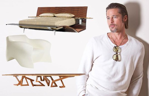 Academy Award winner/ furniture designer Brad Pitt pictured possibly dreaming up a new furniture design.