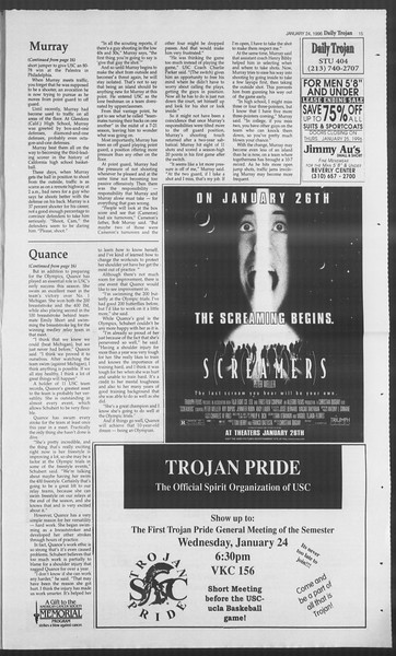 Daily Trojan, Vol. 127, No. 8, January 24, 1996