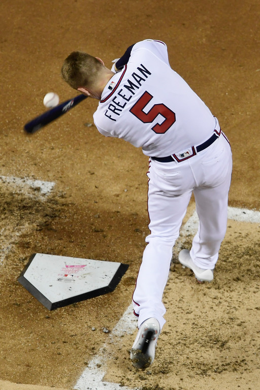 . Atlanta Braves Freddie Freeman (5) hitsduring the MLB Home Run Derby, at Nationals Park, Monday, July 16, 2018 in Washington. The 89th MLB baseball All-Star Game will be played Tuesday. (AP Photo/Susan Walsh)