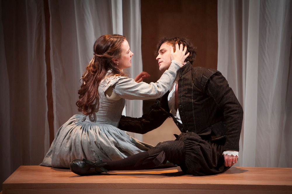 """. Left to right: Juliet (Lenne Klingaman) and Romeo (Charles Pasternak) in the Denver Center\'s \""""Romeo & Juliet.\"""" Photo by Jennifer M. Koskinen, Provided by the Denver Center Theatre Company."""