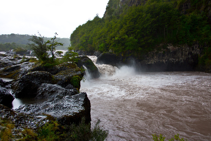 Petrohue Rapids, Patagonia, Chile (rapids were formed when lava from volcanic eruptions blocked the river's course).