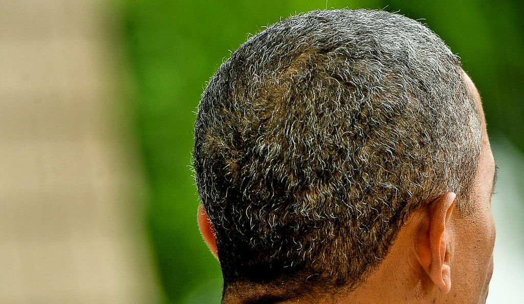 . Silver hairs are increasingly apparent on the head of the 52-year-old President as he delivers his speech at the Lake Harriet Bandshell. (Pioneer Press: Ben Garvin)
