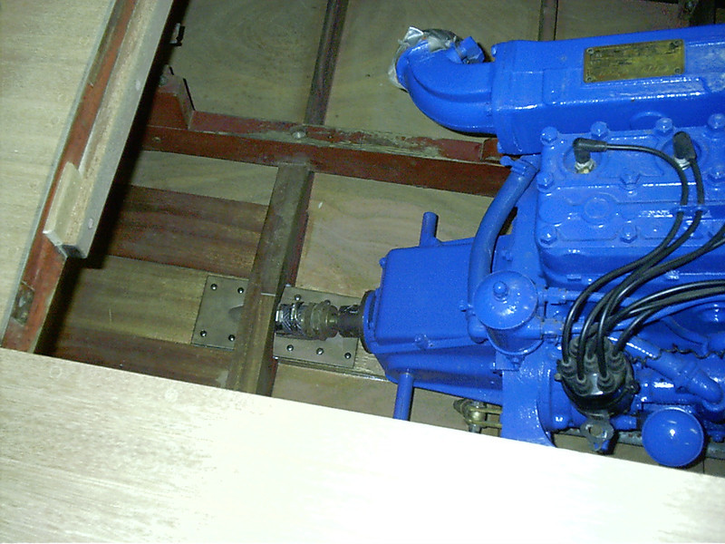 Shaft log installed,shaft alienment set,coupling coupled to the engine.
