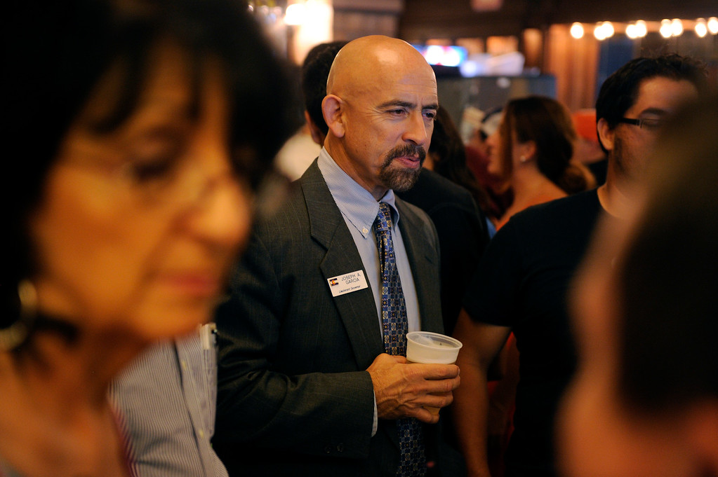 . PUEBLO, CO. - SEPTEMBER 10: Lt. Governor Joe Garcia joined Supporters of State Senator Angela Giron awaiting election results in Pueblo Tuesday night September 10, 2013.  Giron faces a recall in District 3. Photo By Karl Gehring/The Denver Post