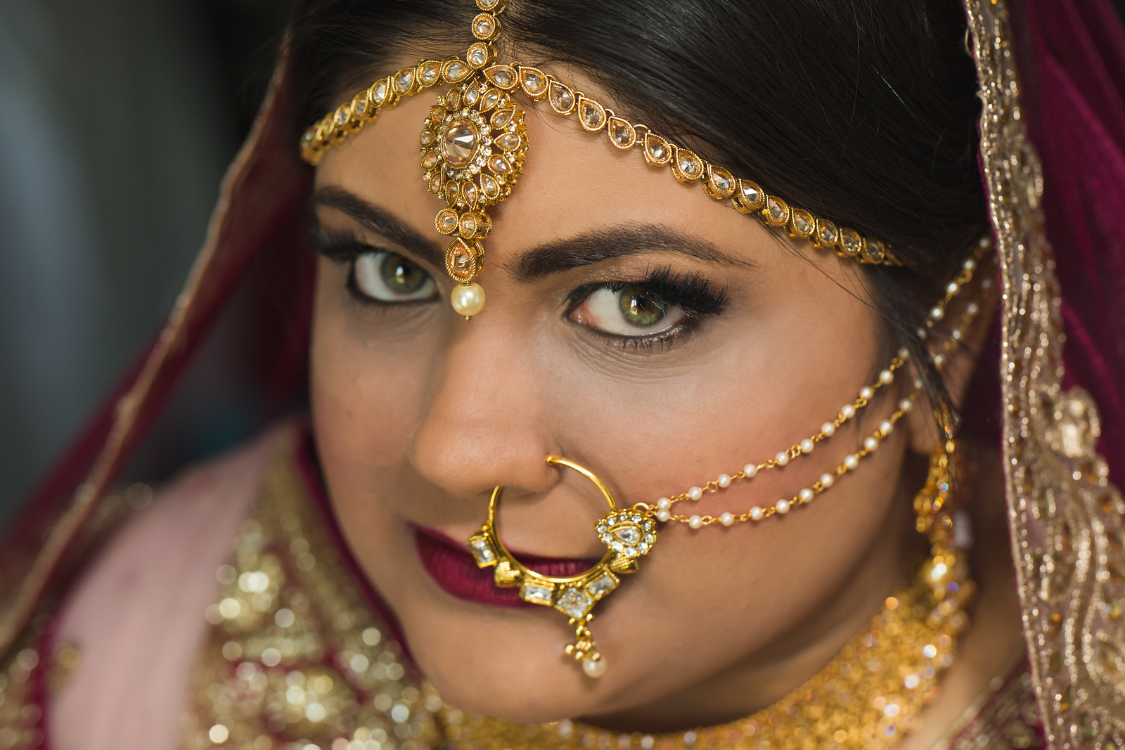 Bride close up at traditional Hindu wedding in Oklahoma