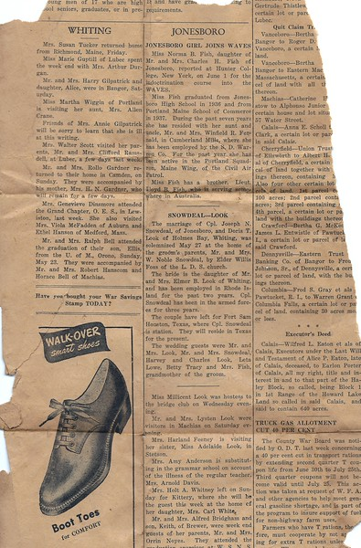 News article that includes marriage of Joseph Snowdeal and Doris Look May 27 1943