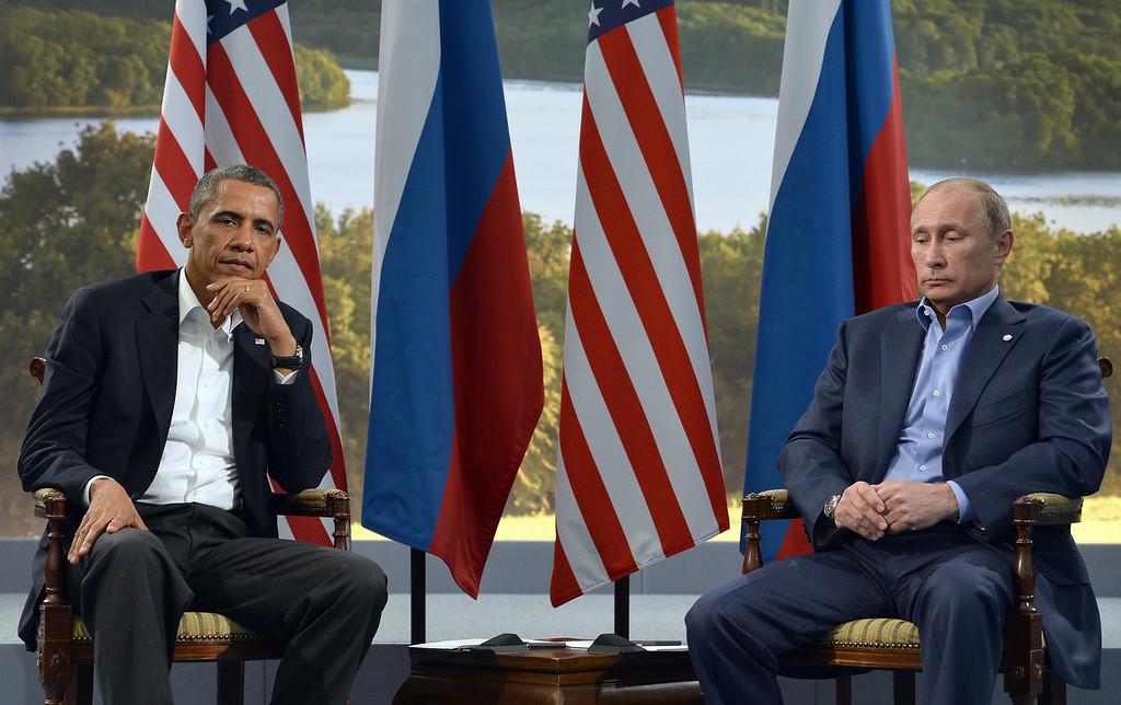 . US President Barack Obama (L) holds a bilateral meeting with Russian President Vladimir Putin during the G8 summit at the Lough Erne resort near Enniskillen in Northern Ireland, on June 17, 2013. The conflict in Syria was set to dominate the G8 summit starting in Northern Ireland on Monday, with Western leaders upping pressure on Russia to back away from its support for President Bashar al-Assad. JEWEL SAMAD/AFP/Getty Images