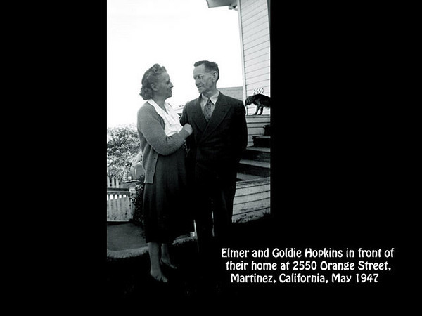Elmer and Goldie Hopkins in front of their home at 2550 Orange Street,  Martinez, California in about 1951.