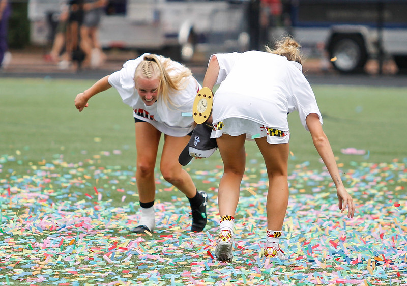 May 26, 2019: Maryland Caroline Steele and Lizzie Colson celebrate in the confetti after NCAA Womens Lacrosse Championship matchup between Boston College and University of Maryland in Baltimore. Photos by Chris Thompkins/Prince Georges Sentinel