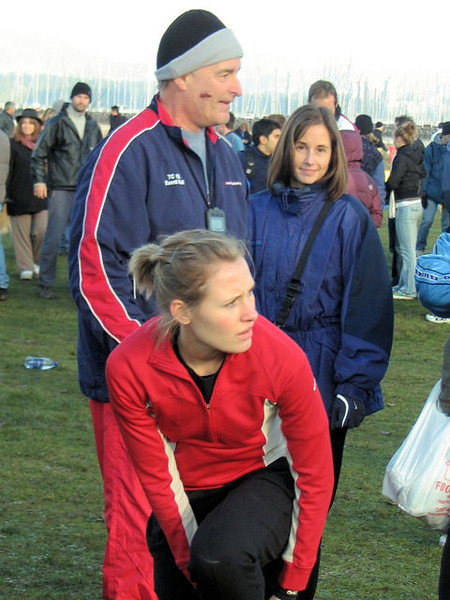 2005 Canadian XC Championships - Prairie Inn Harriers' club coach Ron Bowker and his daughter