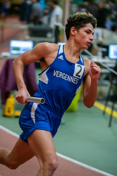 Senior Julio Quiles runs the 4x400 relay. VUHS won the event with a time of 3:45.11. Vermont Division II Indoor Track State Championships - UVM Gutterson Field House - 2/16/2020