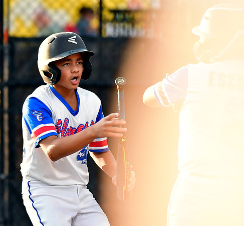 8/10/2019 Mike Orazzi | Staff New Jersey Elmora Youth Little League's J.R. Rosado (42) celebrates after scoring during Saturday's Mid Atlantic Final baseball game with New York at Breen Field in Bristol, Conn.