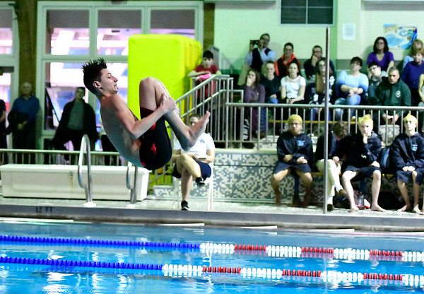 2/19/2019 Mike Orazzi | Staff Bristol Swim Team's Anthony Fasci during Tuesday's meet with Middletown in Bristol.