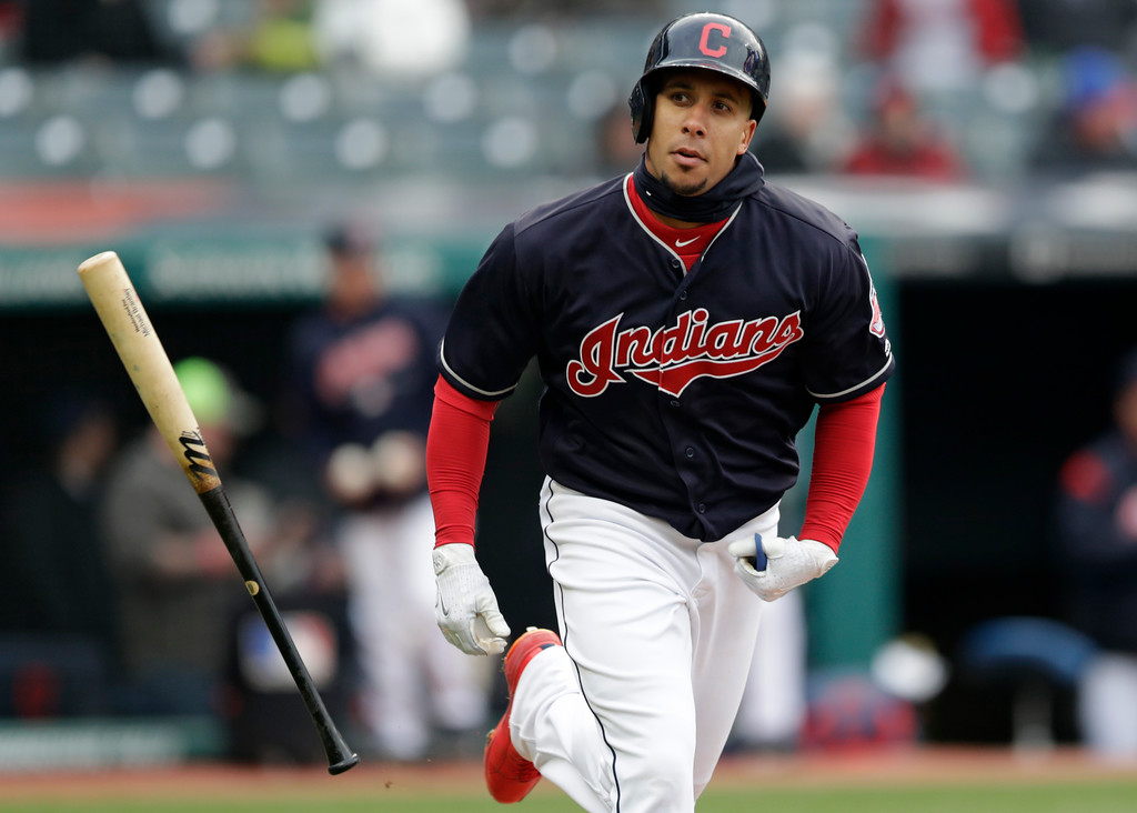 . Cleveland Indians\' Michael Brantley runs to first base after hitting against the Seattle Mariners in the eighth inning of a baseball game, Saturday, April 28, 2018, in Cleveland. Brantley was out on the play. (AP Photo/Tony Dejak)