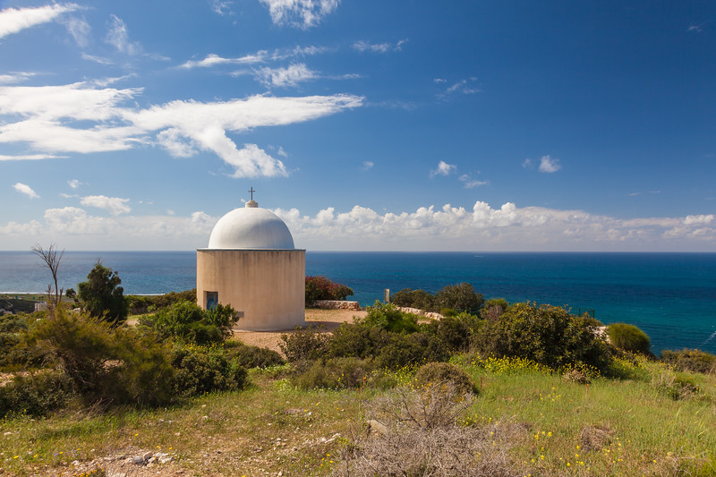 Christian Chapel on nature background of the Mediterranean Sea in the spring.