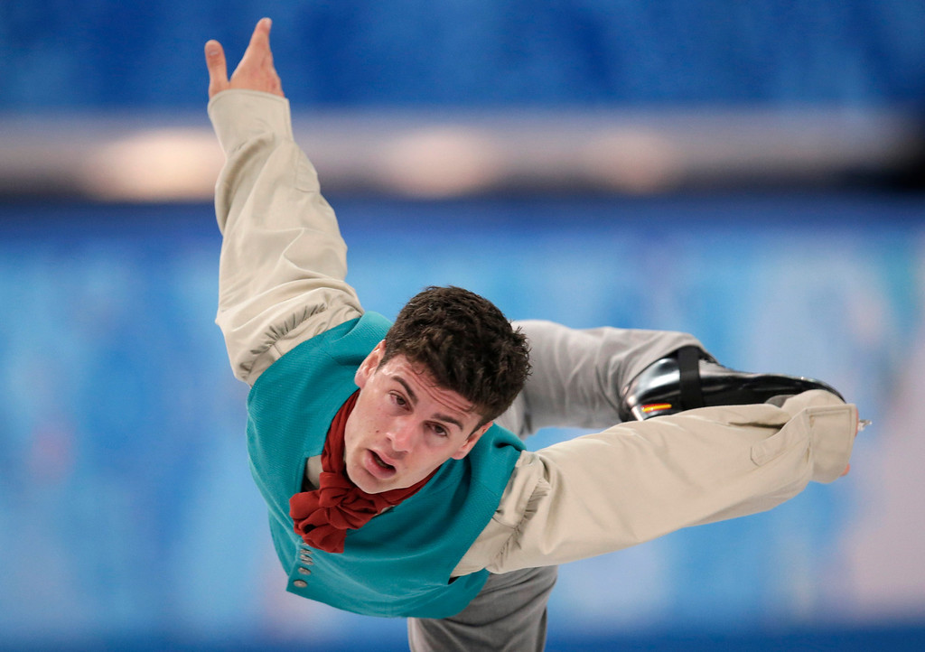 . Javier Raya of Spain competes in the men\'s short program figure skating competition at the Iceberg Skating Palace during the 2014 Winter Olympics, Thursday, Feb. 13, 2014, in Sochi, Russia. (AP Photo/Bernat Armangue)