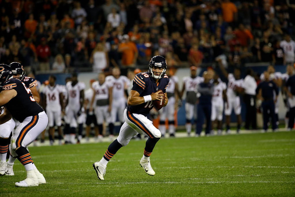 . Chicago Bears quarterback Mitchell Trubisky (10) scrambles during the second half of an NFL preseason football game against the Denver Broncos, Thursday, Aug. 10, 2017, in Chicago. The Broncos won 24-17. (AP Photo/Nam Y. Huh)